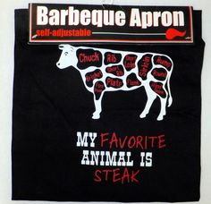"Barbeque BBQ Apron MY FAVORITE ANIMAL IS STEAK 26"" x 33"" Unisex Black Ritz NEW  #Ritz"