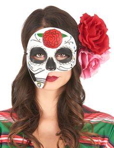 Maschera asimmetrica dia de los muertos: Questa maschera asimmetrica in plastica dipinta su tutto il volto sul tema dia de los muertos, (i fiori non sono inclusi), sarà perfetta per completare un travestimento in occasione di feste o... #halloween #maschere #halloweenmaschere
