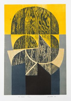 'Sun Beacon' 1960-70) by English artist and printmaker Peter Green. Woodcut and stencil print, edition of 25, 730 x 500 mm. via St Jude's Prints