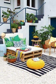 intérieur/extérieur, déco : terrasse, plantes, banquette, palet
