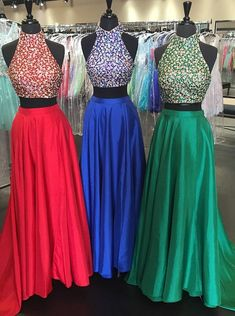 Buy New Arrival High Neck Satin Backless Two Piece Prom Dress with Beaded 2016 Prom Dresses under US$ 168.99 only in SimpleDress.