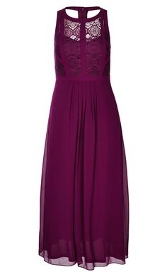 Women's Plus Size Panelled Bodice Maxi Dress - Mulberry | City Chic USA