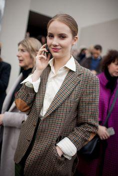 London Fashion Week Street Style RTW Fall 2016- tweed jacket & dress shirt