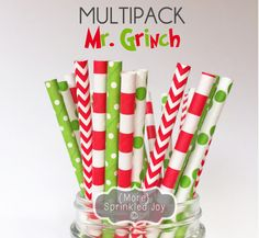 MR. GRINCH Paper Straws Multipack Christmas by MoreSprinkledJoy