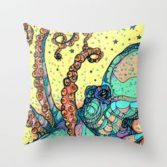 Octopus Throw Pillow by Kate Fitzpatrick - $20.00