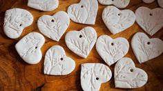 Clay ornaments with leaf impressions