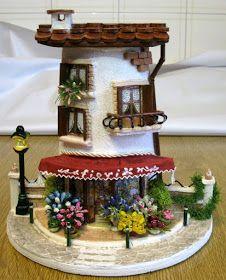 De Todo, Un Poco .: Tejas decoradas Tile Crafts, Clay Crafts, Decor Crafts, Diy And Crafts, Arts And Crafts, Paper Crafts, Clay Houses, Ceramic Houses, Miniature Houses