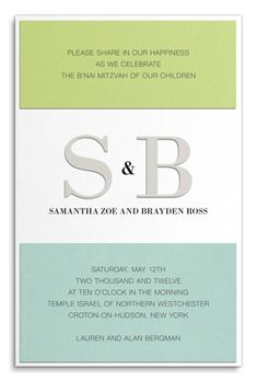 B'nai Mitzvah Invitation with Die-cut Silver Metallic Initials by Luscious Verde Cards