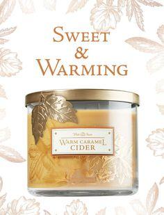 BBW warm caramel cider 3 wick - Google Search