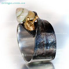 Не спеша, Кольцо из , цвет - Без цвета(Бесцветный), Позолота, стиль - Другое серебро, артикул - ИМ К 040