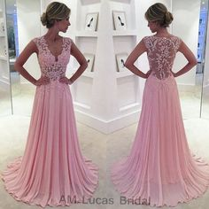 Elegant Pink Long Evening Dress 2016 Appliqus Lace Beaded V Neck Chiffon Women Party Prom Gowns Vestido De Festa Plus Size