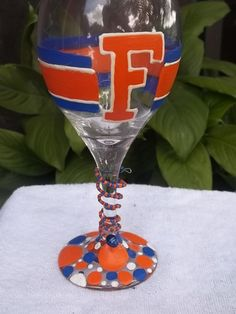 Hand Painted University of Florida wine Glass UF GATORS by mom2aubs, $20.00 also on facebook.com/katieskreationz