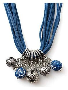 Try using a large spring with beads added. FAB!! Jersey strand charm necklace