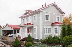 Muuttovalmis Aurora - Kannustalo Grey Exterior, Exterior Paint Colors, Exterior House Colors, Red Roof House, House Yard, Grey Houses, Country Farmhouse, Home Fashion, Scandinavian Design