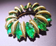 Green Rhinestone Brooch by CASTLECLIFF Wreath by RenaissanceFair