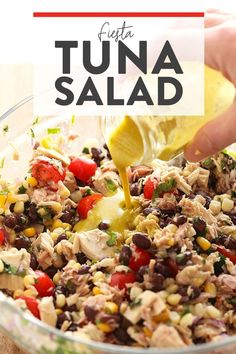 Tuna salad never looked so fresh! Make this colorful healthy tuna salad recipe w… Tuna salad never looked so fresh! Make this colorful healthy tuna salad recipe with a Mexican twist using black beans, cherry tomatoes, corn, and cilantro. What Is Healthy Food, Quick Healthy Meals, Healthy Food List, Healthy Food Choices, Healthy Eating Recipes, Healthy Foods To Eat, Healthy Cooking, Lunch Recipes, Healthy Soups