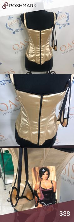 Shirley of HollyWood Corset Style#25955 Size 34,38,32 Color : Gold   Zip up!  Has matching thong! NEW WITH TAGS ! Other
