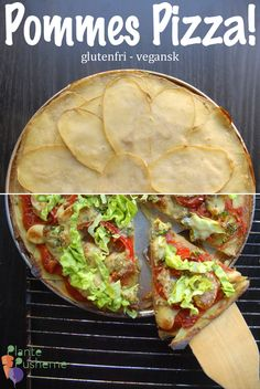 Pommes Pizza from Plante Pusherne. Vegan, oil-free, SOS-free pizza with potato crust. Recipe in Danish. Veg Recipes, Plant Based Recipes, Potato Recipes, Whole Food Recipes, Healthy Recipes, Healthy Food, Recipies, Canned Potatoes, Sliced Potatoes
