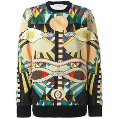 Givenchy Sweatshirt With Multicoloured Print (810 AUD) ❤ liked on Polyvore featuring tops, hoodies, sweatshirts, print sweatshirt, all over print sweatshirts, patterned tops, loose tops and loose fitting tops