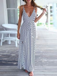 Monochrome, Spaghetti Strap, Striped, Tie Waist, Backless, Maxi Dress
