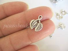 8 pcs Antique Silver Cherry Leaf charms great by SilverCharmsShop