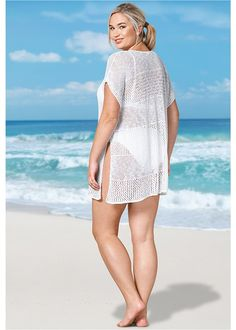Knitted Stripe Tunic has open sides but are stitched to create armholes. Women's Plus Size Swimwear, Plus Size One Piece, Swimsuits, Bikinis, One Piece Swimsuit, Tankini, Bathing Suits, Perfect Fit, Cover Up