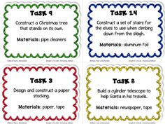 Simple STEAM Christmas tasks that can be completed with basic materials. Four free task cards! Perfect for the week before winter break!