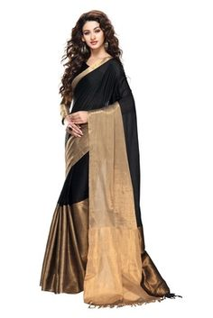 Black And Gold Color Cotton saree with blouse