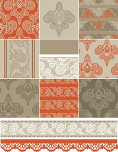 Vector set of floral seamless pattern 03