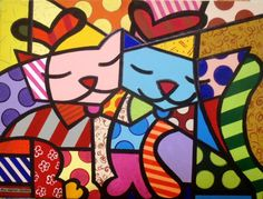 Painel Dois Gatos - by Romero Britto