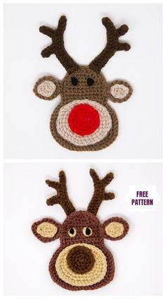 crochet - Christmas Crochet Reindeer Applique Free Crochet Patterns - Apocalypse Now And Then Crochet Christmas Decorations, Christmas Crochet Patterns, Crochet Ornaments, Holiday Crochet, Crochet Gifts, Crochet Applique Patterns Free, Crochet Motifs, Crochet Stitches, Crochet Appliques