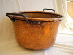 ANTIQUE COPPER COOKING POT an early 20th century hand made copper pot, probably Turkish.