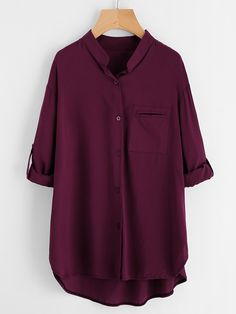 Long Sleeve Blouses. Shirt Decorated with Pocket, Button. Designed with Band Collar. Regular fit. Perfect choice for Casual wear. Plain design. Trend of Spring-2018, Fall-2018. Designed in Burgundy. Fabric has no stretch.