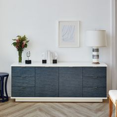 Shop the Cade Modern Classic Blue Stripe Grasscloth Wrapped Wood Buffet Sideboard and other Buffets & Sideboards at Kathy Kuo Home Basement Windows, Walkout Basement, Basement Walls, Wood Buffet, Bungalow 5, Dining Room Furniture, Refurbishing Furniture, Adjustable Shelving, Modern Classic