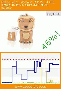 Emtec León - Memoria USB 2.0, 4 GB, lectura 15 MB/s, escritura 5 MB/s, naranja (Ordenadores personales). Baja 46%! Precio actual 12,15 €, el precio anterior fue de 22,64 €. http://www.adquisitio.es/emtec/emtec-le%C3%B3n-memoria-usb-20