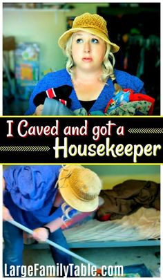 I Caved And Got A Housekeeper.  I have a large family of 9!  Come read this post to get some cleaning inspiration. :) #largefamilytable #housekeeper #familyof9 #housekeeping #largefamily