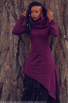 MANAKA | Fairy/Pixie hooded dress in plum.