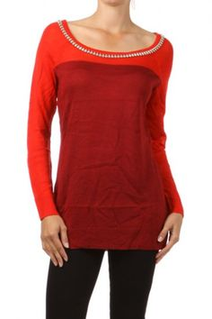 80 percent Viscose 20 percent Polyester 2S/M, 2 M/L Per Pack Red, Yellow This HIGH QUALITY top is VERY NICE!! Made from a nice and soft fabric, this very comfy two tone long sleeve top with embellished trim is hand washable, and fits true to size.