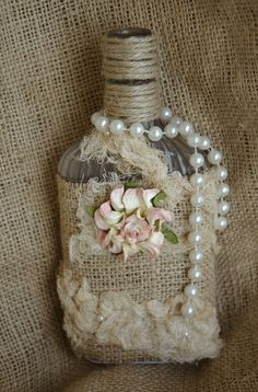 Antique Bottle Repurposed, Mixed Media, Shabby ChicCindy Adkins, Her Whimsical Musings on Etsy, 2 Altered Bottles, Antique Bottles, Vintage Bottles, Bottles And Jars, Vintage Perfume, Antique Glass, Glass Bottles, Perfume Bottles, Burlap Projects