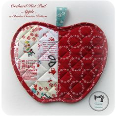 Orchard Hot Pad ~Apple~ By Charise Randell I love to make hot pads and have more than I can count on one hand! They are fast and easy projects and are great to give as gifts. I think of mine as little mini quilts that you get to use and admire each and every day! This orchard hot pad is a fun way to use your favorite fabric scraps. I combined vintage and new fabrics to give the potholders a vintage scrappy look! The pattern is 13 pages in total and is delivered as a PDF download. Finished…