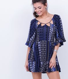 Vestido feminino  Estampado  Com amarração nas costas  Marca: Blue Steel  Tecido: Malha + viscolycra  Modelo veste tamanho: P     COLEÇÃO INVERNO 2016     Veja outras opções de    vestidos femininos.
