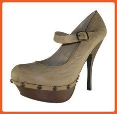 Wild Diva Women Heel Pumps Platform Mary Jane Strap CIANNA-06 Beige Nude 10 - Pumps for women (*Amazon Partner-Link)