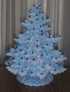 This tree is so elegant and comes in so many colors, great accent piece. Love the Blue with White Tips and Blue Lights. Lighted Ceramic Christmas Tree Blue by SandysFiredArtStudio Christmas Decorations For The Home, Diy Christmas Tree, Christmas Past, Merry Little Christmas, Blue Christmas, Xmas Decorations, Holiday Ornaments, All Things Christmas, Christmas Themes