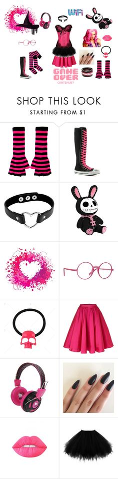 """""""Magical Girl Lolita - Game Over"""" by ladykdragon ❤ liked on Polyvore featuring Converse, Italia Independent, Untold, Hello Kitty, Mus and Lime Crime"""