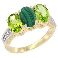 10K Yellow Gold Natural Malachite and Peridot Ring 3-Stone Oval 7x5 mm, sizes 5 - 10 >>> Quickly view this special  product, click the image : Ring Bands