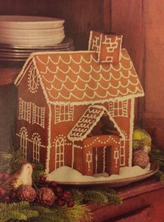 Gingerbread house (even from a kit) and only use white icing to detail.  Classic look!