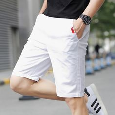 Summer Fitness solid Drawstring shorts homme cotton bermuda men's clothing casual beach shorts Cool thin Straight short trousers