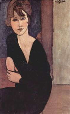 Portrait of Madame Reynouard, Amedeo Modigliani. Oil on canvas, private collection. Italian artist Amedeo Modigliani was born today in Amedeo Modigliani, Modigliani Portraits, Modigliani Paintings, Italian Painters, Art Moderne, Art For Art Sake, Renoir, Famous Artists, Figurative Art
