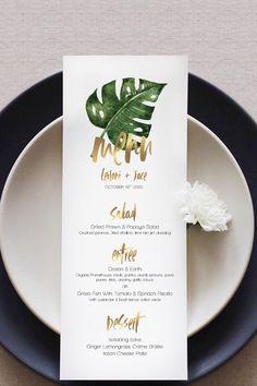 Leilani Tropical Leaves Menu Card (DIY Print) - Decoration For Home Wedding Menu Cards, Wedding Stationery, Wedding Table, Birthday Menu, Dinner Party Menu, Tropical Party, Wedding Catering, Menu Design, Tropical Leaves