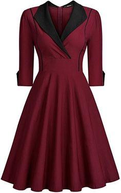 Miusol Women's Deep-V Neck Classical Bow Belt Vintage Casual Swing Dress - Wine&black XX-Large Cap Dress, Dress Up, Plus Size Maxi Dresses, Short Sleeve Dresses, Very Short Dress, Cosplay Dress, Classy Dress, Mode Style, Swing Dress